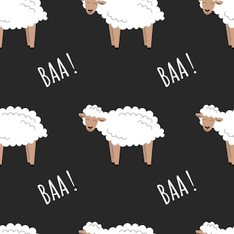 Naadloos patroon met schattig met witte pluizige schapen. achtergrond met landbouwhuisdieren. behang, verpakking. platte vectorillustratie