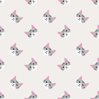 Naadloos patroon met schattig mooi kattengezicht
