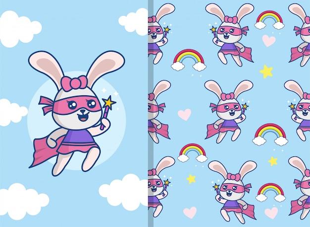 Naadloos patroon met schattig super konijnkarakter.