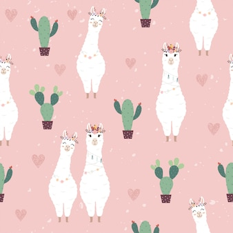 Naadloos patroon met schattige alpaca's en cactus.