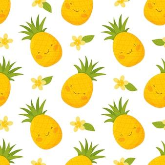 Naadloos patroon met schattige ananas bloemen en bladeren.