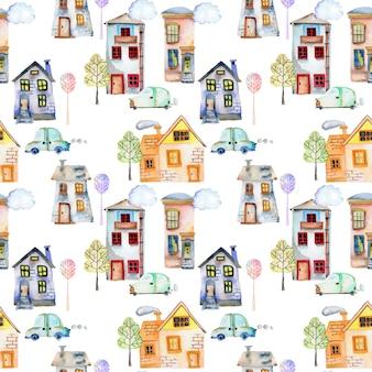 Naadloos patroon met schattige aquarel huizen