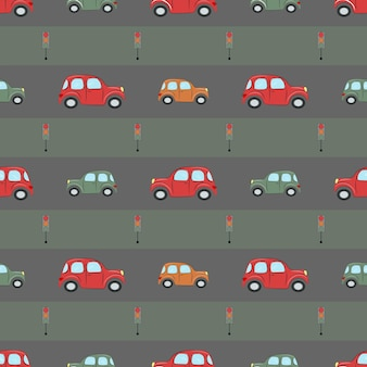 Naadloos patroon met schattige auto's en verkeerslichten voor babytextiel inpakpapier en verpakking