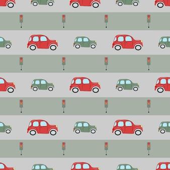Naadloos patroon met schattige auto's en verkeerslichten voor inpakpapier en verpakking voor babytextiel