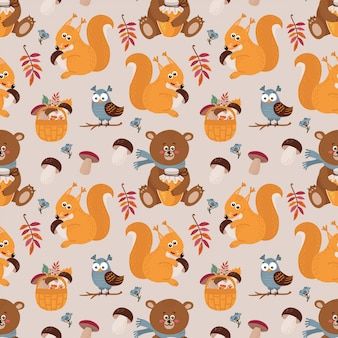 Naadloos patroon met schattige beren, eekhoorns, uilen