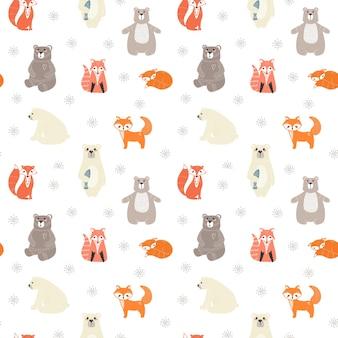 Naadloos patroon met schattige beren, vossen en verschillende elementen. illustratie in scandinavische stijl.