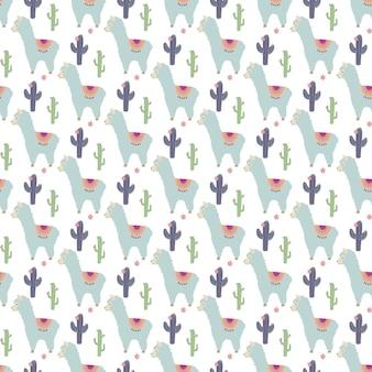Naadloos patroon met schattige blauwe lama's en cactussen