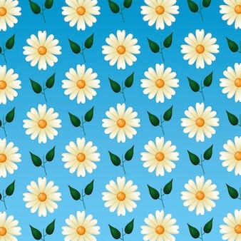 Naadloos patroon met schattige bloemen en bladeren