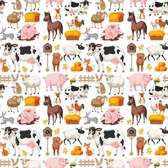 Naadloos patroon met schattige boerderijdieren op witte achtergrond
