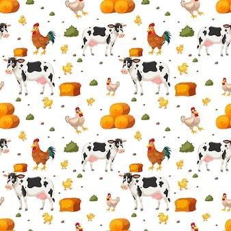Naadloos patroon met schattige boerderijdieren stripfiguur