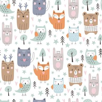 Naadloos patroon met schattige bosdieren. hand getrokken stijl.