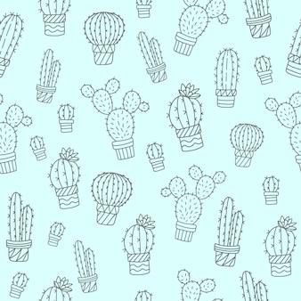 Naadloos patroon met schattige cactussen