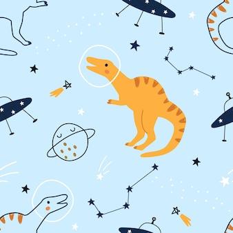 Naadloos patroon met schattige cartoondinosaurussen in de ruimte op een blauwe achtergrond vectorillustratie