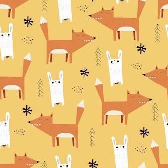Naadloos patroon met schattige cartoonvos en konijntjes