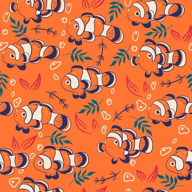 Naadloos patroon met schattige clownvissen.