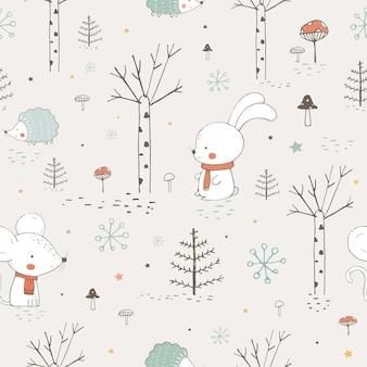 Naadloos patroon met schattige dieren in het bos muis en egelhandgetekende vectorillustratie