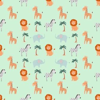 Naadloos patroon met schattige dieren leeuw zebra olifant giraf