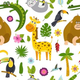 Naadloos patroon met schattige dieren uit de jungle