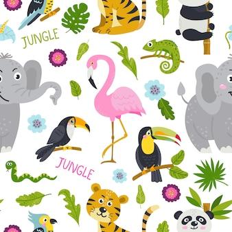 Naadloos patroon met schattige dieren