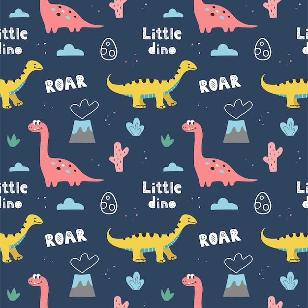 Naadloos patroon met schattige dinosaurussen en handschrift op een donkerblauwe achtergrond. hand getrokken vector doodle ontwerp voor kinderen.
