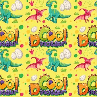 Naadloos patroon met schattige dinosaurussen en lettertype op gele achtergrond