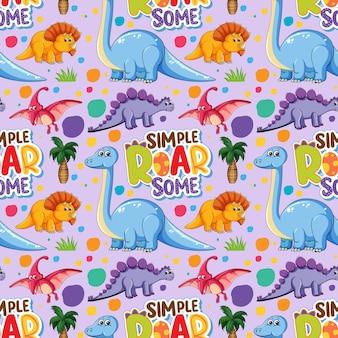 Naadloos patroon met schattige dinosaurussen en lettertype op paarse achtergrond