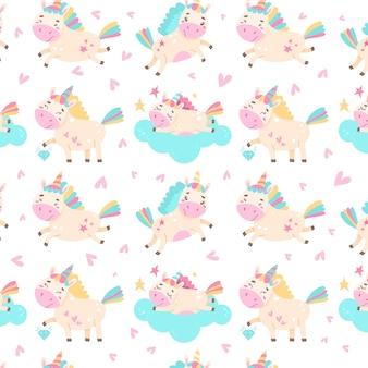 Naadloos patroon met schattige eenhoorns