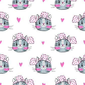 Naadloos patroon met schattige fase van katten en bogen. mode kawaii kitty. illustratie