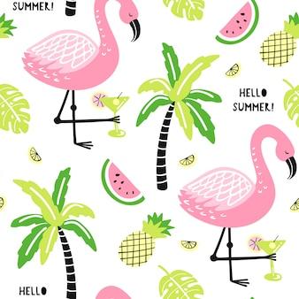 Naadloos patroon met schattige flamingo, palm