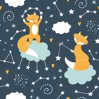 Naadloos patroon met schattige fox