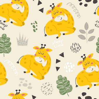 Naadloos patroon met schattige giraffen