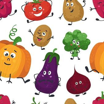 Naadloos patroon met schattige groenten