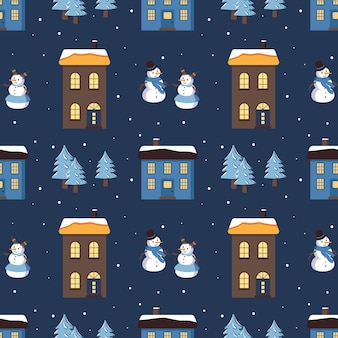 Naadloos patroon met schattige huizen met een licht dak op de sneeuw, sneeuwmannen en kerstbomen. vrolijke vakantie print, nieuwjaar en kerstversiering. winter en feestelijke achtergrond