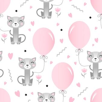Naadloos patroon met schattige kat