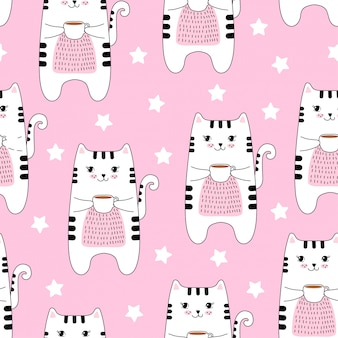 Naadloos patroon met schattige katten en koffie.