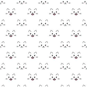 Naadloos patroon met schattige kattengezichten