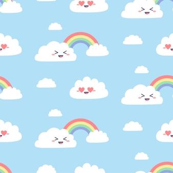 Naadloos patroon met schattige kawaiiwolken. eenvoudige wolkenkarakters met regenboog op blauw