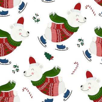 Naadloos patroon met schattige kerstberen.