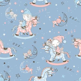 Naadloos patroon met schattige kinderen die op stuk speelgoed eenhoorns slapen.