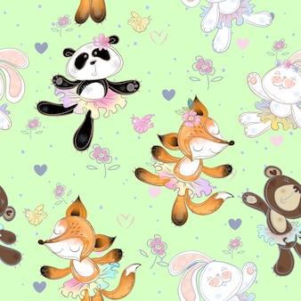 Naadloos patroon met schattige kleine dieren