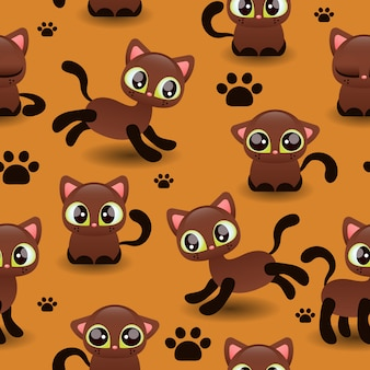Naadloos patroon met schattige kleine katjes