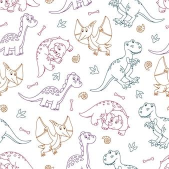 Naadloos patroon met schattige kleurrijke omtrek dinosaurussen