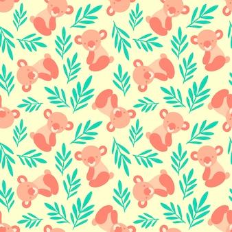 Naadloos patroon met schattige koala beren en bladeren.