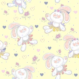 Naadloos patroon met schattige konijntjesballerina's.