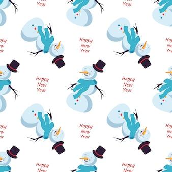 Naadloos patroon met schattige lachende sneeuwmannen vrolijke vakantie print nieuwjaarsdecoraties winter en festi...