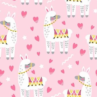 Naadloos patroon met schattige lama in liefde en harten.