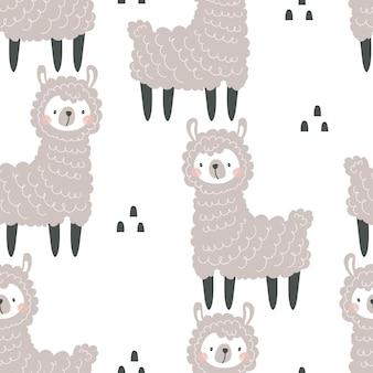 Naadloos patroon met schattige lama's en decoratieve elementen op een gekleurde achtergrond