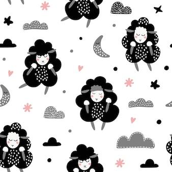 Naadloos patroon met schattige lammeren.