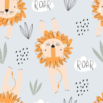 Naadloos patroon met schattige leeuwendieren en decoratieve elementen op een blauwe achtergrond om af te drukken