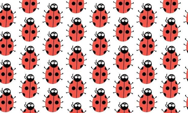 Naadloos patroon met schattige lieveheersbeestjes met grappige ogen